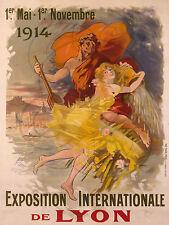 PLAQUE ALU DECO AFFICHE EXPOSITION INTERNATIONALE DE LYON MAI NOVEMBRE 1914
