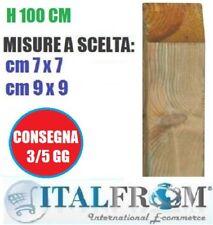 Palo Quadro in Legno di Pino H 100 Trattato X Steccato, Recinzione Per Giardino