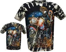New Grim Reaper Biker Lady Glow In The Dark Tattoo Tye Dye T- Shirt M - 3XL