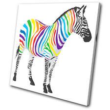 Animals Abstract Zebra SINGLE CANVAS WALL ART Picture Print VA