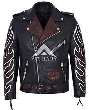 Brando noir oxred flammes men's classic moto motard vachette veste cuir