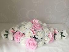 Wedding Flowers Display Top Table Arrangement pink rose Ivory  Rose Centre Piece