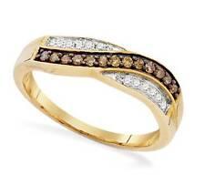 10K Yellow Gold Chocolate Brown & White Diamond Ring Twist Design Band .25ct