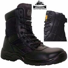 Homme de police en cuir imperméable militaire acier orteil casquette sécurité travail bottes chaussures sz