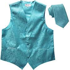 New Men's Formal Vest Tuxedo Waistcoat_necktie paisley turquoise blue wedding