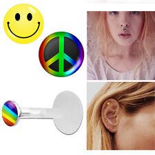 3mm Flat Push Top Cute Logos Earring 1-2Pc Bio Flex Tragus Helix Piercing 16g w/