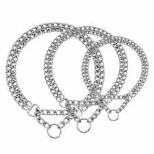 3 Size Silver Dual Chain Training Dog Collar Curb Link Choker Choke Chrome Metal