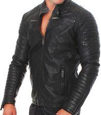 Hombre Club Negro Motero Chaqueta de piel auténtica vintage Ajustado Motos Retro