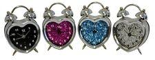 Novelty Heart Glitter Metal Chrome Spring Clock Desk Choice Colour Gift