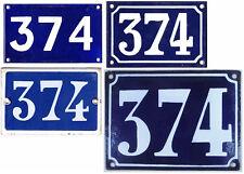 Old blue French house number 374 door gate plate steel enamel sign plaque - pick