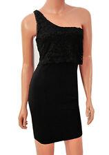 Ladies ASOS Black Dress One Shoulder Party short minidress womens summer evening