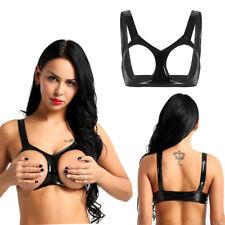 Sexy Womens Wet Look Latex Bra Top Nipples Open Cup Bralette Lingerie Underwear