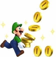 LUIGI COLLECTS COINS Super Mario Bros Decal Removable WALL STICKER Home Decor