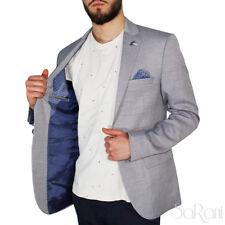 Chaqueta De Hombre Casual Slim Fit Bolsillo Botones Micro-patrón Azul SARANI