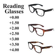 Trendy Reading Glasses +0.00 to +4.00 Mens Ladies Nerd Retro Geek