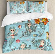 Kids Duvet Cover Set with Pillow Shams Cute Marine Creatures Art Print
