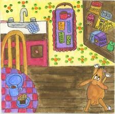 DACHSHUND DOG BREAKFAST BACON EGGS COFFEE KITCHEN MINIATURE TINY ART PAINTING