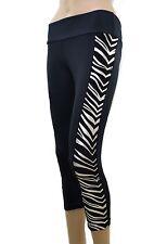 3/4 Leggings Silver Zebra S M L Gym Womens Ladies Yoga Pants Fitness Capri Tight