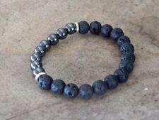 Mens Gemstone,Healing,Surfer Bracelet 8mm Black Lava Beads & Magnetic Hermatite
