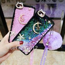 Dynamic Liquid Glitter Quicksand Soft TPU Black phone Case Cover & neck strap C3
