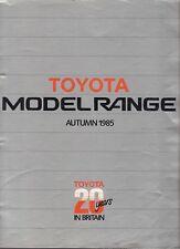 Toyota Starlet Corolla MR2 Carina Camry Supra Autumn 1985 UK Market Brochure