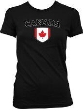 Canada Flag Crest Canadian National Soccer Football Pride Juniors T-shirt