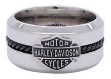 Harley-Davidson Men's Black Stainless Steel Wire Bar & Shield Ring HSR0032