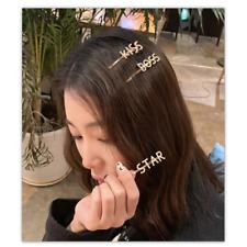 Women's Girls Pearl City Letters Hair Clips Hairpin Pearl Slide Grips Barrette