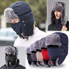 Unisex Trapper Aviator Trooper Earflap Ski Hat Fur Hood Bomber Cap With Mask HOT