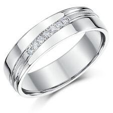 Sterling Silver Ring Diamond Channel Set 7 Diamonds 6mm Band