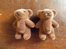 """5x DARK BROWN CUTE TINY MINIATURE FELT DOLL HOUSE CRAFT TEDDY BEARS 1.4"""" TALL"""
