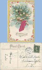 CHRISTMAS GREETING - CHERUB - SILK APPLIQUE POSTCARD