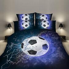 Football Quilt Doona Cover Bed Set Pillowcases Soccer Blue Flame Duvet Cover