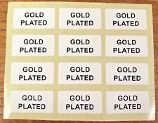 Placcato oro gioielli ETICHETTE ADESIVI 20 mm x 10 mm Oro o Nero su Bianco