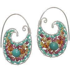 Bora Bora 254 ~Turquoise, Ruby, Garnet Swirl Hoop Earrings with Metal Choice