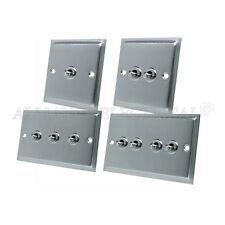 Slimline Satin Chrome Toggle Switch - 10A 1G 2G 3G 4G 2 Way Dolly Light Switch