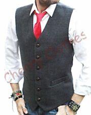 Homme tweed laine mélangée micro carreaux gris gray gilet gilet toutes les tailles m l xl xxl