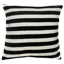 fa04a Black White Soft Fleece Striped Pattern Print Cushion Cover/Pillow Case