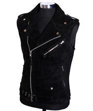Men's Brando Black Suede New Motorcycle Biker Cruiser Cowhide Leather Waistcoat