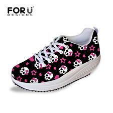 Fashion Skull Women's Sneakers Shape Ups Sports Platform Creeper Flats Shoes