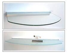 Glasregal Glasablage 50x20/30/20 cm oval Klarglas Satiniert / Profil Alu silbern