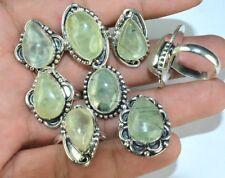 Prehnite Gemstone & Mix Design 925 Sterling silver Overlay Rings Wholesale Lot