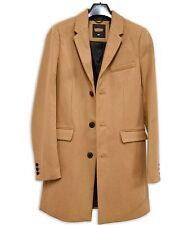 Lana Mix Cappotto di cammello Crombie lunghezza 3/4 Inverno Caldo Burton SARTORIA
