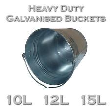 10L / 12L / 15L Bucket Heavy Duty Galvanised Metal Tough Durable Water Garden EU