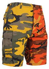 Mens Two Tone Camo BDU Shorts Orange Yellow Stinger Camouflage Rothco 1815