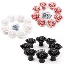 8x Porcelain 3D Rose Ceramic Knobs Cupboard Cabinet Drawer Pull Furniture  Handle