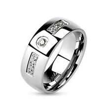 Anello in acciaio inox argento 6 – 8mm larga Zirconia Clear Anello dimensioni 47 (15) - 66 (21)