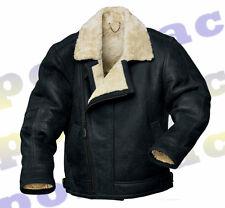 Para Hombre 100% Genuino Negro Piel de oveja Cuero Aviator Flying Jackets * Nuevo *