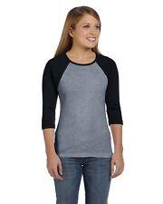 Bella Women's Baby Rib 3/4 Sleeve Contrast Raglan BIG SIZE T-Shirt B2000