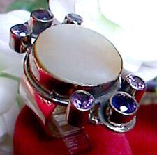 925 ECHT SILBER *** Riesengroßer Ring mit Perlmutt, Iolith, Amethyst, Gr. 49, 50